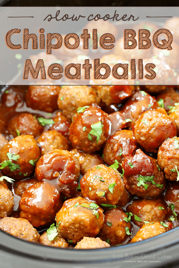 These Slow Cooker Chipotle BBQ Meatballs from Love Bakes Good Cakes make an easy, 5 ingredient appetizer or dinner. A bag of frozen meatballs gets kicked up a notch with cherry preserves, bottled barbecue sauce, and chipotle peppers!