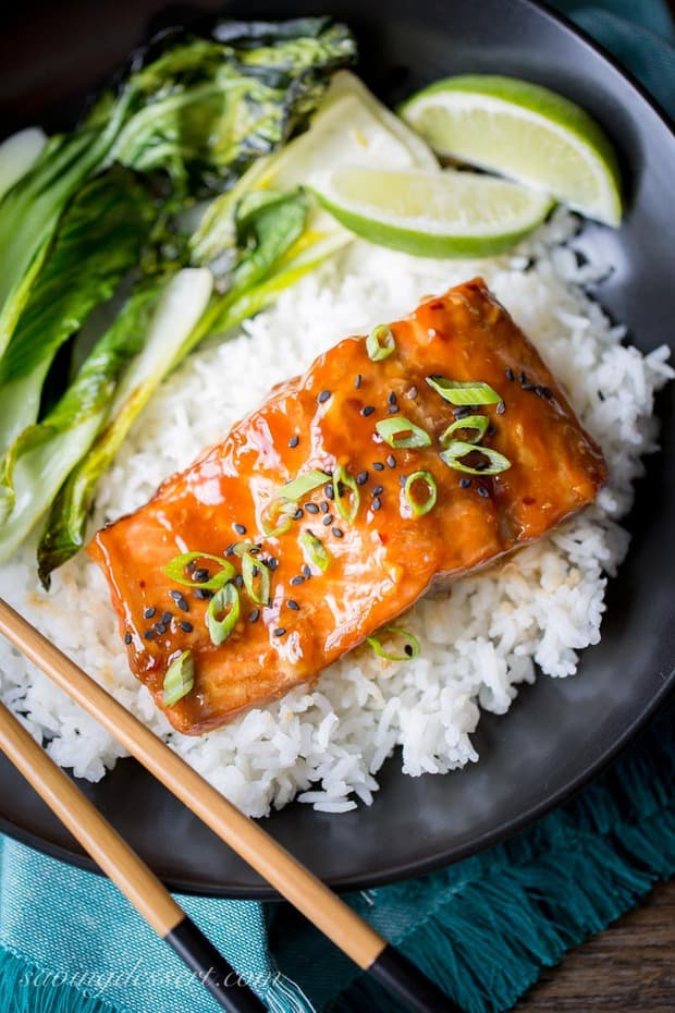 Teriyaki Salmon Rice Bowls with Bok choy