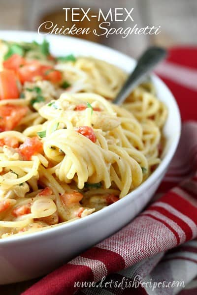 This Tex Mex White Chicken Spaghetti was no exception. Everyone loved it and came back for seconds!