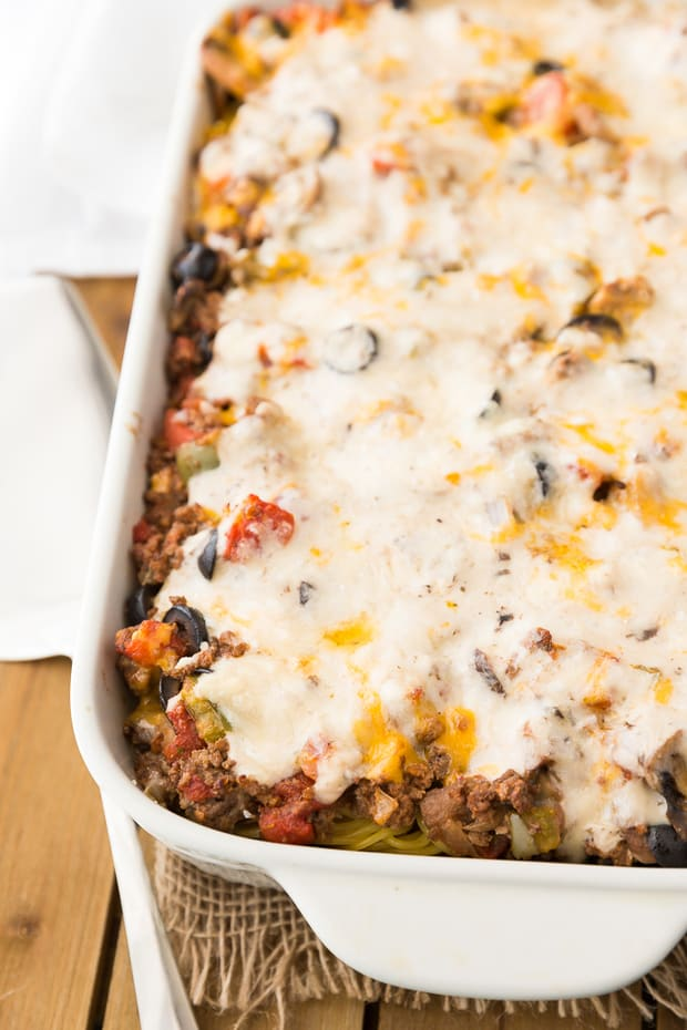 This casserole is super hearty and filling. It's loaded with fresh chopped veggies, spiced ground beef, and a creamy mushroom sauce