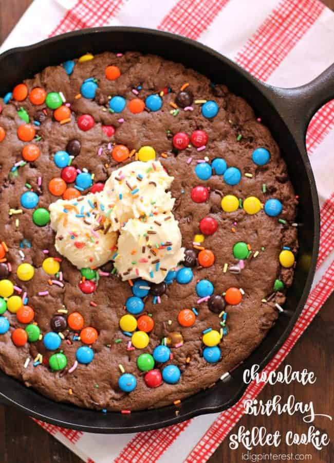 chocolate birthday skillet cookie