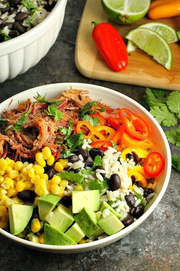 pork carnitas burrito bowls recipe