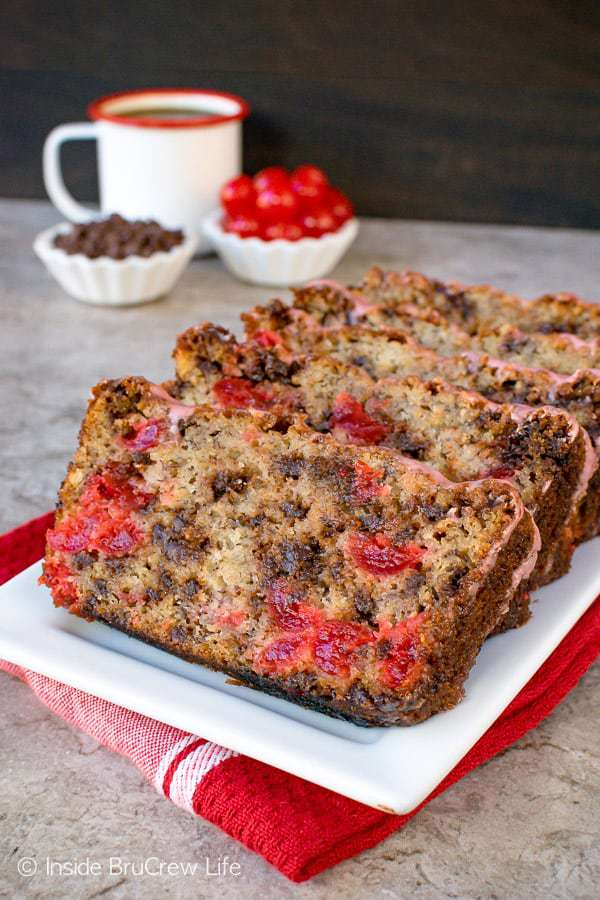 Add a loaf of this Cherry Chocolate Chip Banana Bread to your baking plans. This easy banana bread is loaded with chocolate and cherries. Add a cup of coffee and enjoy a delicious breakfast or afternoon snack.