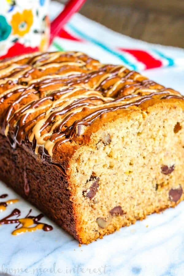 Peanut Butter Chocolate Chip Banana Bread is an easy banana bread recipe that is perfect for using up those overripe bananas!