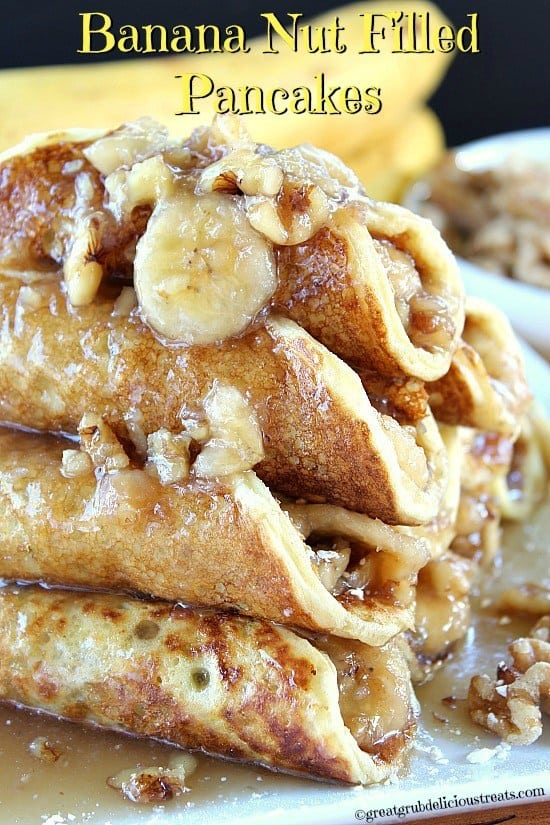 Hey pancake lovers, if you love pancakes and have sweet tooth cravings, you are going to want check these out. Banana nut filled pancakes are what's for breakfast at our house. Each pancake is filled with a delicious banana nut maple syrup filling, which tastes freakin' amazing