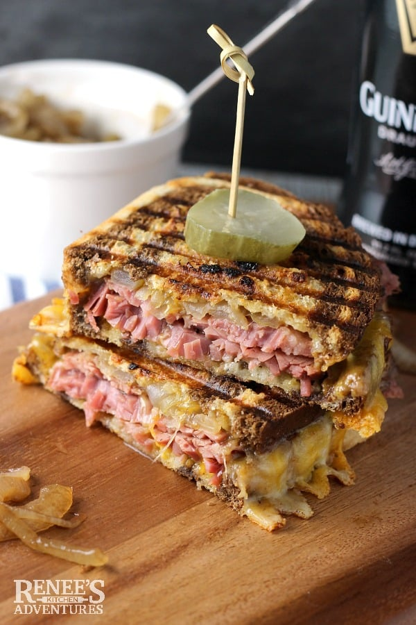 Corned Beef Panini with Caramelized Guinness Onions
