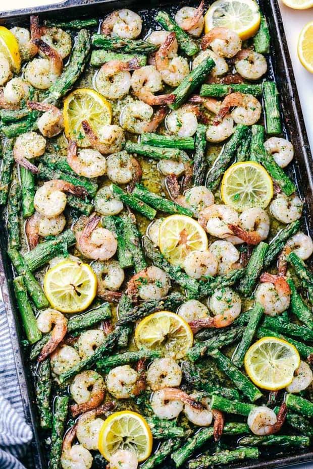 Sheet Pan Lemon Garlic Butter Shrimp with Asparagus