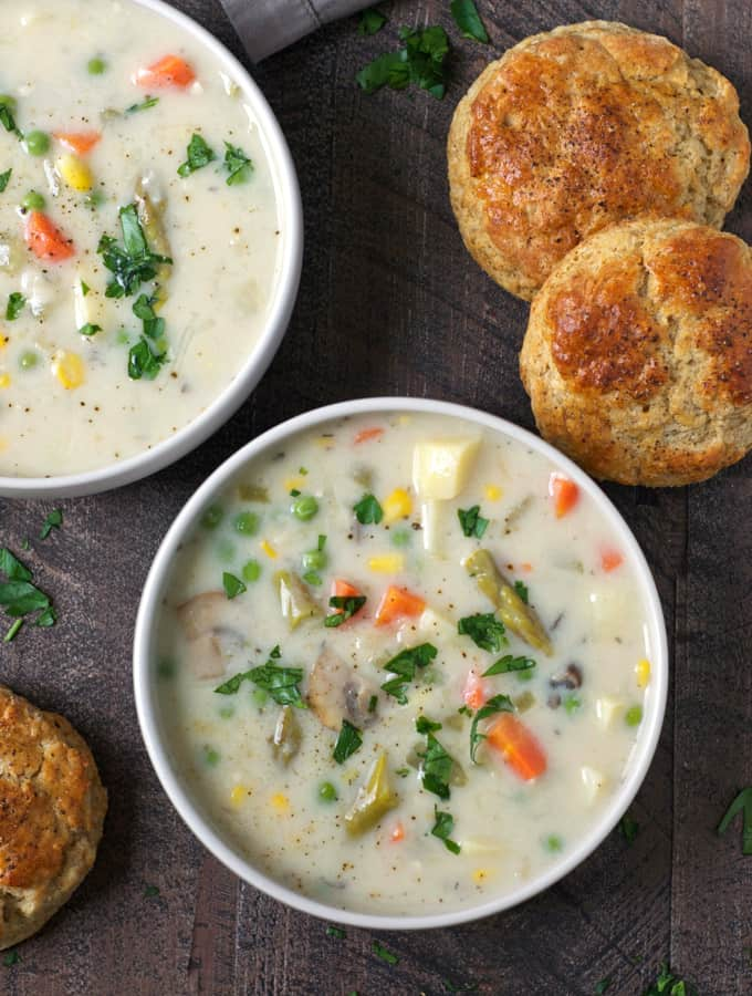 This creamy, comforting vegetable pot pie soup is everything you love about traditional pot pie--minus the meat. Feel free to mix it up and use whatever veggies you have on hand.