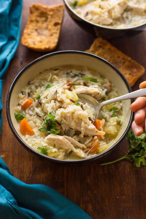 Hearty + healthy Chicken and Wild Rice Soup – comes together in the instant pot and ready in under 30 minutes! Perfect for fall and winter dinners! | Gluten Free + Dairy Free