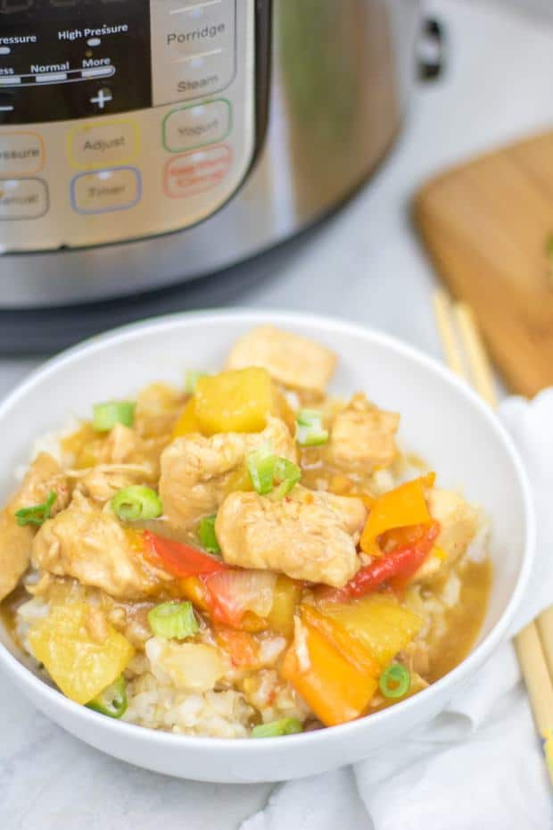 Instant Pot Sweet and Sour Chicken: A healthier spin on a favorite take-out dish that is made in under 10 minutes thanks to the Instant Pot.