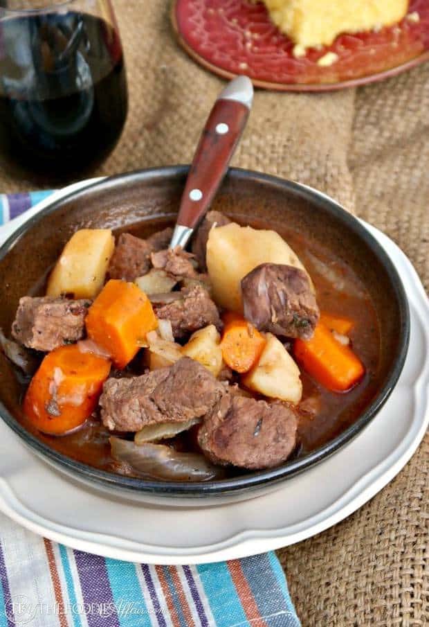 Hearty old fashioned Beef Stew Pressure Cooker Recipe made with carrots, potatoes, and onion cooked in beef stock and red wine cooks in 35 minutes!