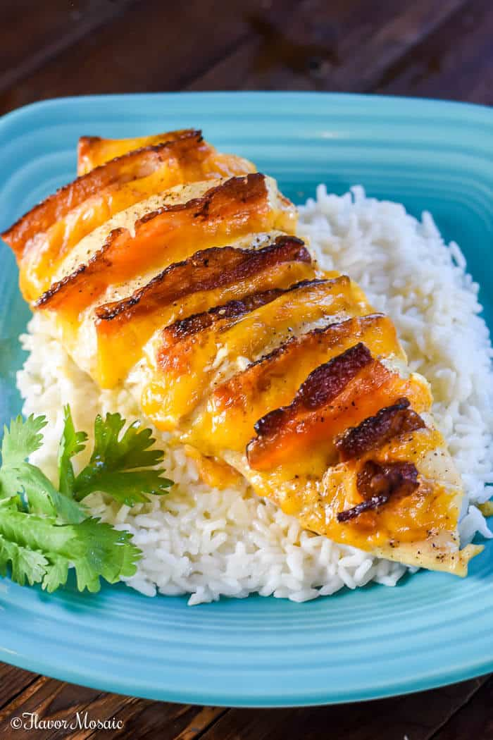 Hasselback Chicken Stuffed with Bacon Ranch and Cheddar--Part of The Best Chicken Bacon Ranch Recipes