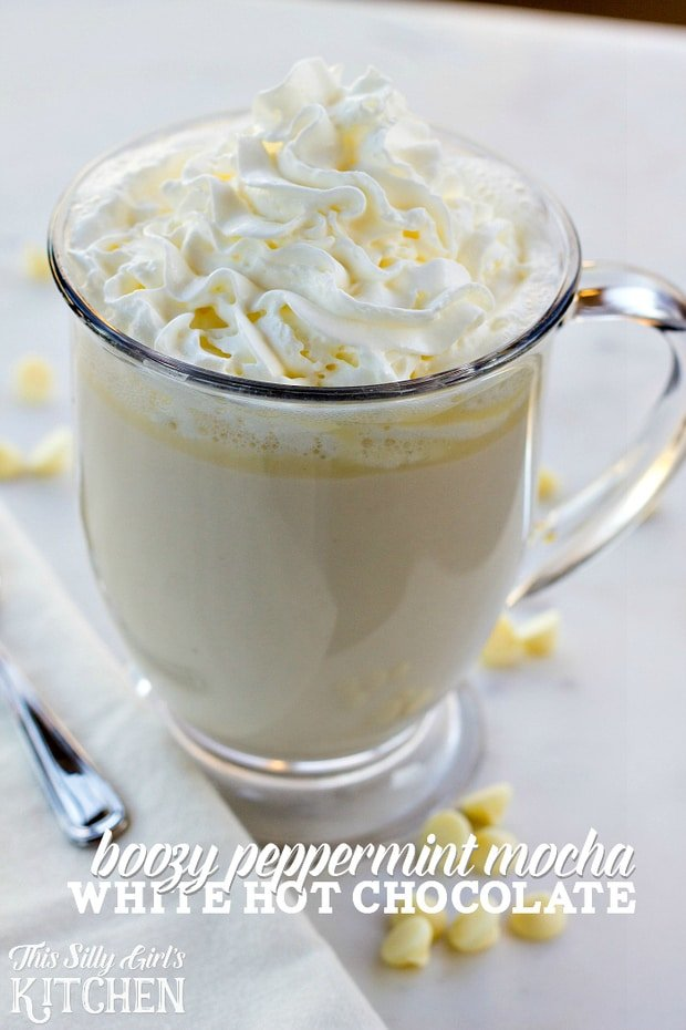 Boozy Peppermint Mocha White Hot Chocolate