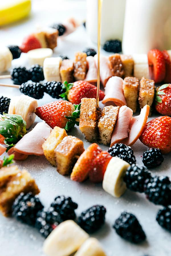 Canadian Bacon and French Toast Kabobs make a fun and delicious breakfast!  Loaded up with fresh fruit, canadian bacon, and french toast these will become a new favorite way to eat breakfast!