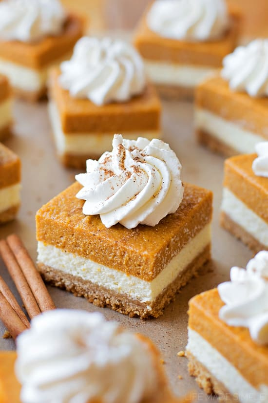 Layered Pumpkin Pie Cheesecake Bars Recipe