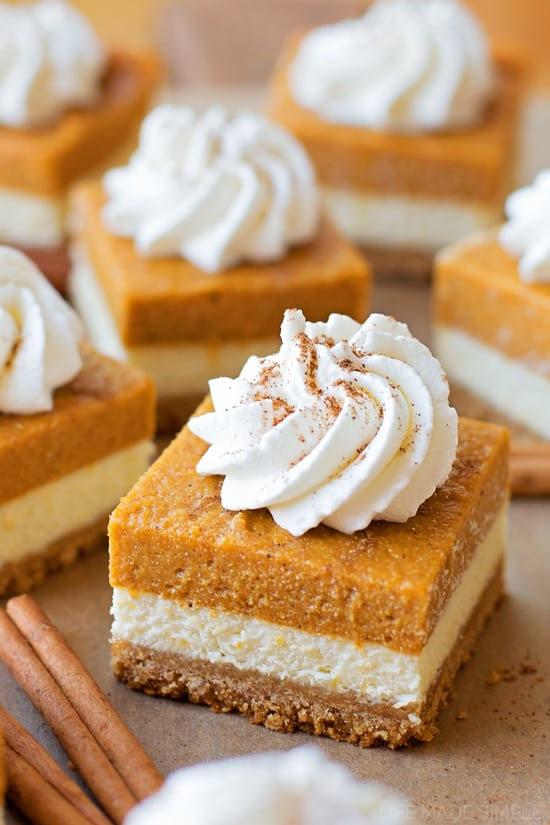 Layered Pumpkin Pie Cheesecake Bars