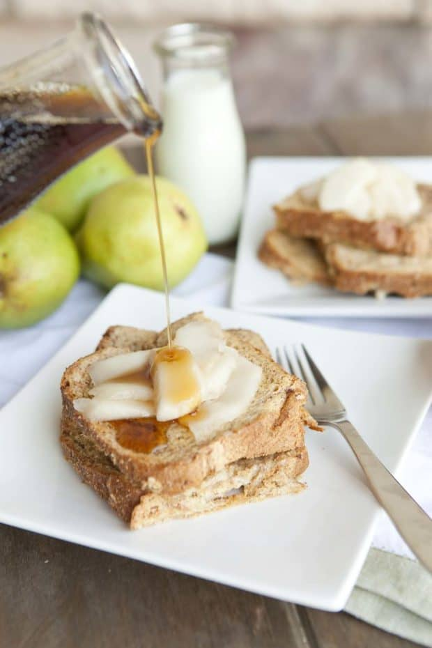 Want a hearty and full breakfast in the morning that will take less than 10 minutes to prepare? Try this make-ahead Warm Pears & Baked French Toast. Prepare everything the night before and then pop it in the oven the next morning while the kids are getting ready for school.  The thick and hearty slices of wheat bread come out with browned tops and crispy edges without being soggy.  You will add this to your go to breakfast rotation.