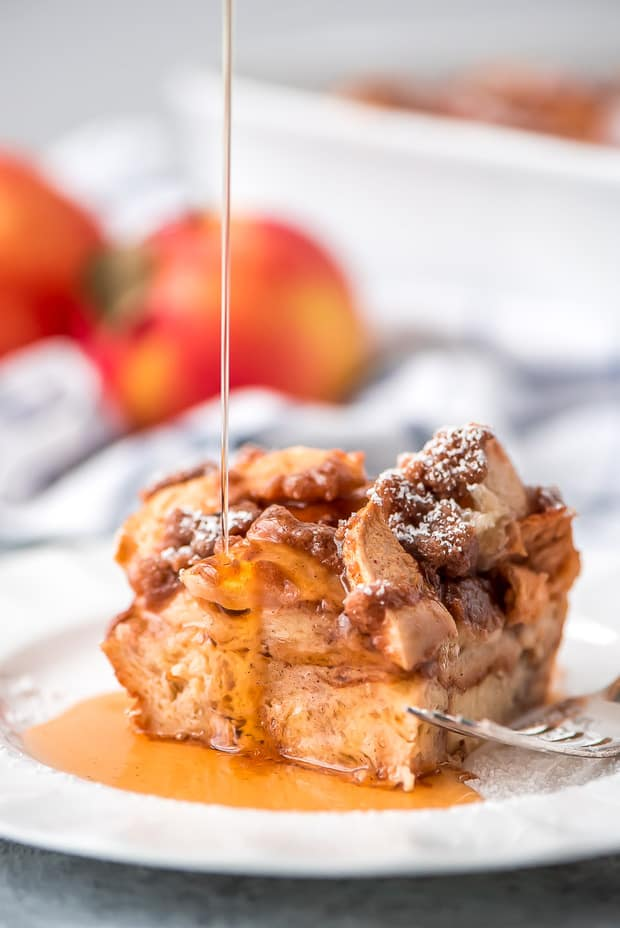 Overnight Cinnamon Apple French Toast Casserole is the perfect autumn breakfast to wake the family up to!