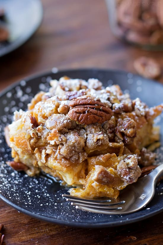 This overnight pumpkin french toast bake is the perfect dish for chilly fall mornings. It's topped with a chunky spiced pecan streusel.