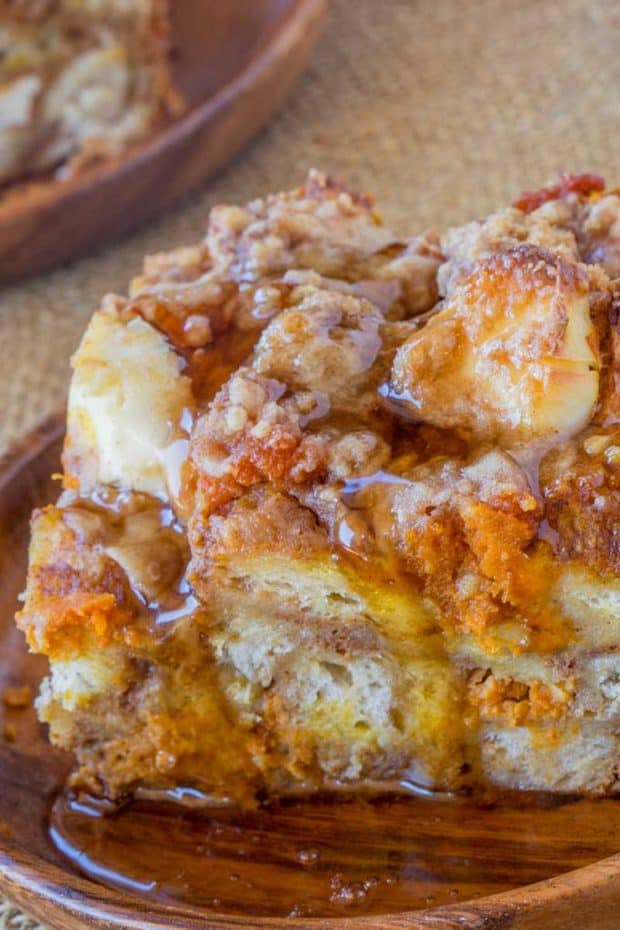 Pumpkin French Toast Bake with cream cheese filling and no overnight chilling and is the perfect brunch recipe that's part french toast, part cheesecake