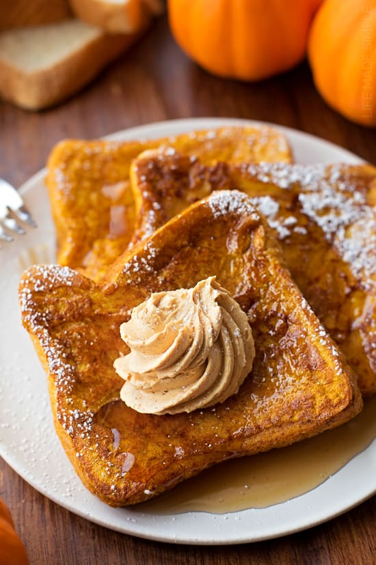 I'm wishing I was diving into a big ole pile of this pumpkin french toast. It's dreamy folks! Sweet, perfectly spiced and topped with a swirl of homemade whipped pumpkin butter. Mmm… fall mornings just got a whole lot tastier!