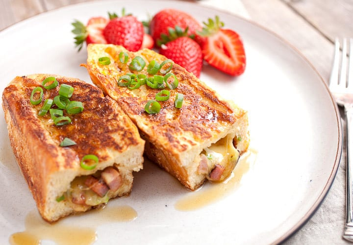 Savory stuffed french toast jam-packed with ham, swiss, scallions, and cooked in a slightly sweet custard. Perfect for that salty-sweet fix!