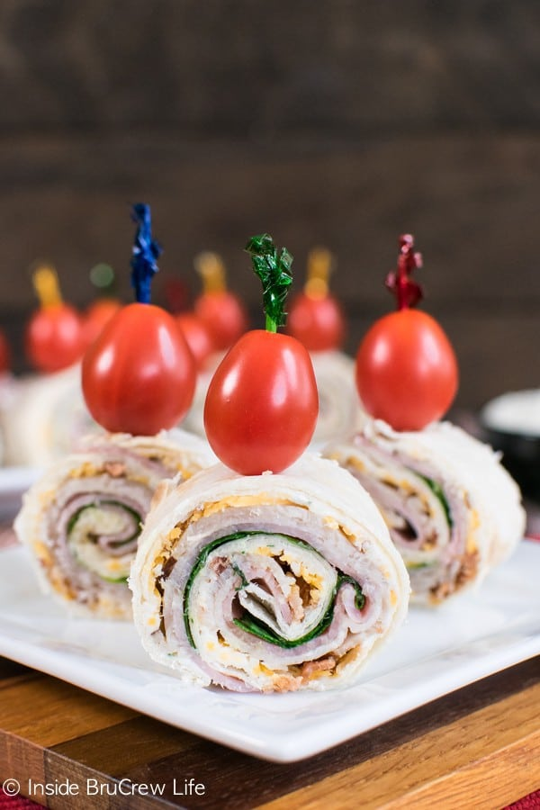 These easy Turkey Club Pinwheels are full of meat and cheese. They are great snacks to pack in lunches or eat as an after school snack.