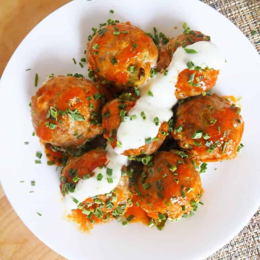 These buffalo turkey meatballs are even more flavorful than buffalo chicken meatballs! And they're low carb, gluten-free, nut-free, and healthy, too.