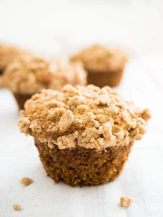 Banana Crumb Muffins are so easy to make with just a few simple ingredients! These fluffy and moist muffins are topped with a delicious cinnamon-spiced streusel topping and make a great breakfast or after-school snack. A simple recipe that freezes beautifully and produces big, bakery-style banana muffins.