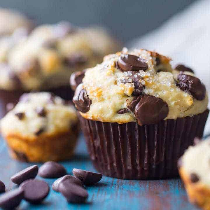 Chocolate chip muffins are like little bites of heaven! My kids love the mini size. Bake up a big batch and keep them in the freezer! Such a yummy way to start their day.
