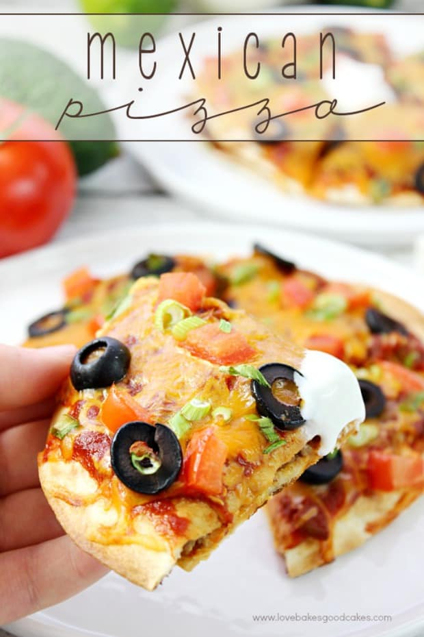 This homemade Mexican Pizza recipe is better than the famous fast food joint! Get your daily dose of dairy with melty cheese and a dollop of sour cream!