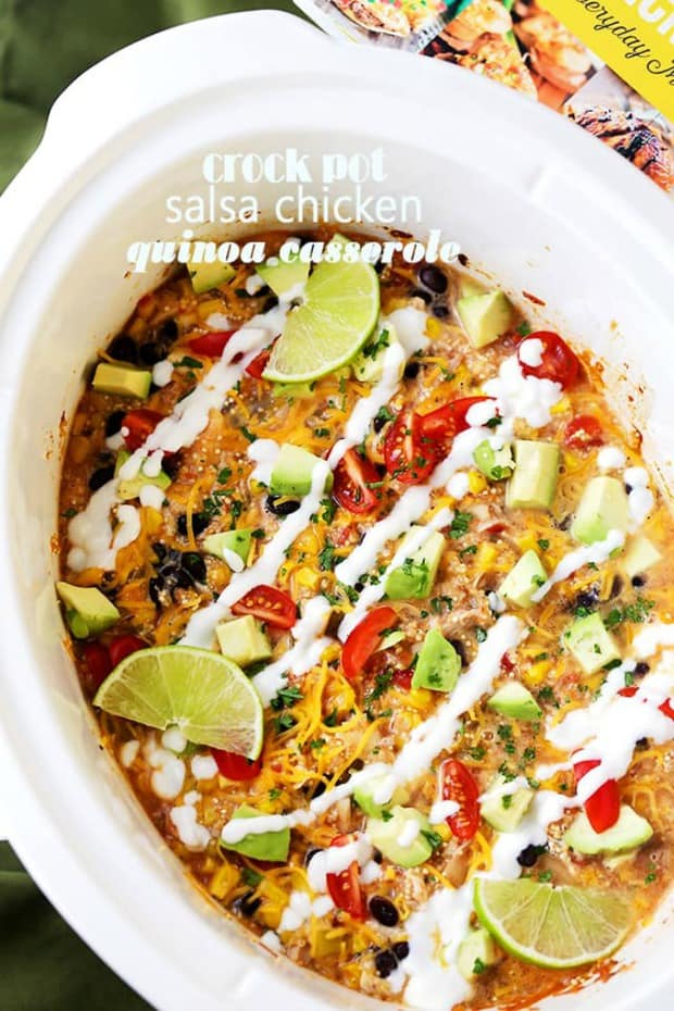 Crock Pot Salsa Chicken Quinoa Casserole Recipe – Give rotisserie chicken new life with this super simple and delicious casserole. Packed with quinoa, chicken, veggies, and salsa, this is about to become your new go-to hearty meal! All you need to do is arrange the ingredients in the crock pot and walk away.