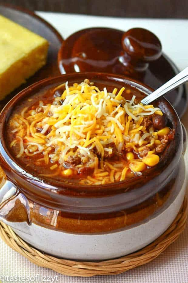 This Beefy Mexican Rice Soup is a hearty mixture of beef, rice, beans and corn. Your favorite burrito flavors…in a soup recipe!