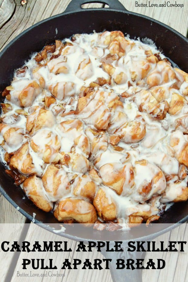 ThisCaramel Apple Skillet Pull Apart BreadfromButter, Love, and Cowboysjust screams fall. It's an ooey-gooey dessert that pairs perfectly with a big scoop of vanilla ice cream! Apple is good by itself, but add some caramel and it's out of this world!