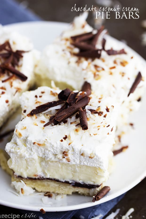 This unforgettable dessert is layered with a shortbread crust, chocolate ganache layer, coconut cream, and topped with whipped cream!   Perfect for your next party!