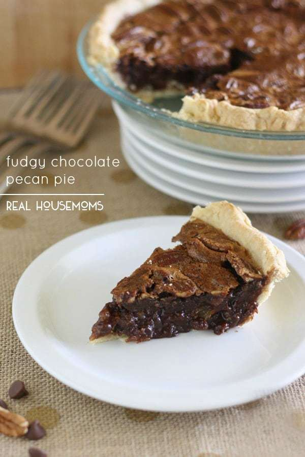 FUDGY CHOCOLATE PECAN PIE is a rich and delicious twist on a classic Thanksgiving dessert chocolate lovers will go crazy for!