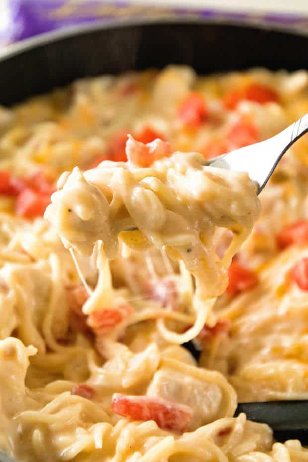 This one pot spaghetti is bursting with delicious, Mexican flavors. Creamy, cheesy sauce, tender chicken, and comforting pasta is perfectly seasoned and cooked to perfection! The best part? It's on the table in 30 minutes.