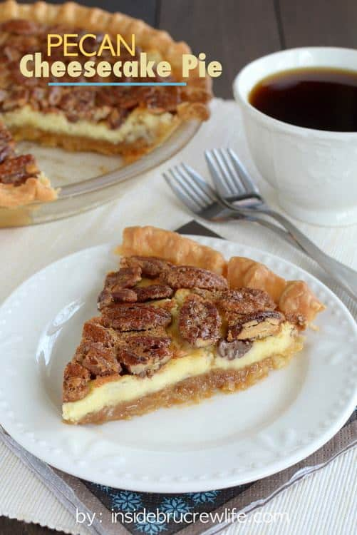 Pecans and cheesecake were meant to be together.  Make this Pecan Cheesecake Pie this holiday season and watch it disappear in no time at all