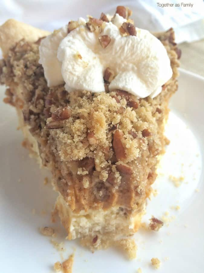 This pumpkin cheesecake pie has it all. A layer of tender, flaky pie crust, cheesecake layer, and then pumpkin pie all topped with a pecan streusel crumble on top! Serve with some whipped cream and you have fall dessert perfection in one bite. This would make a show stopper dessert at Thanksgiving too!