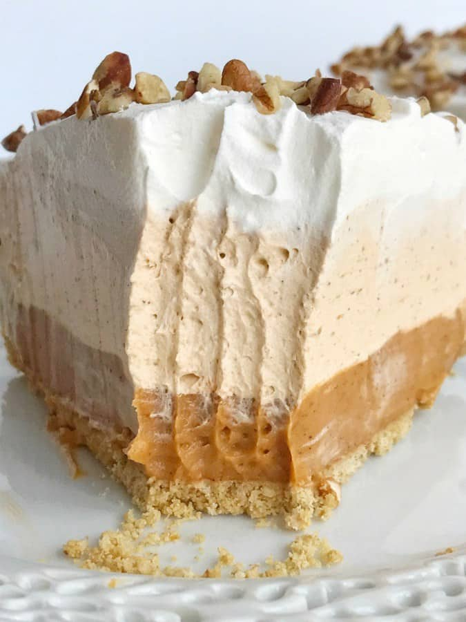 No bake triple layer pumpkin spice pudding pie is a delicious twist to classic pumpkin pie. It's a creamy, no bake pie with three layers of pumpkin spice flavor and only 5 ingredients. Perfect for Thanksgiving dinner because it can be made the day before.