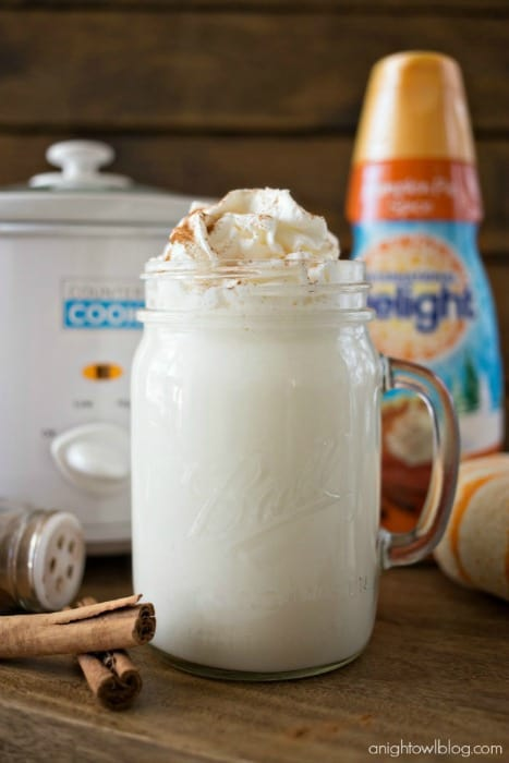 ThisCrock Pot Pumpkin Spice White Hot Chocolateis just three ingredients and is so easy to make! Perfect for a chilly fall evening!