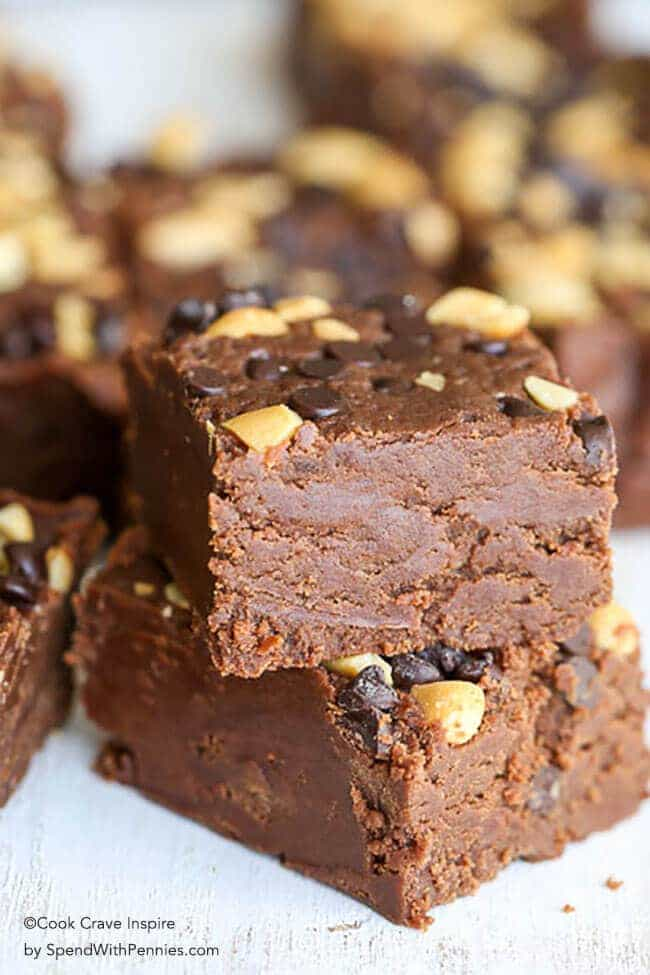 Chocolate Peanut Butter Fudge is an incredibly delicious treat that comes together in a flash! Topped with chocolate chips and peanuts, this recipe creates one of the most beautiful and tasty versions of fudge that I have ever had!