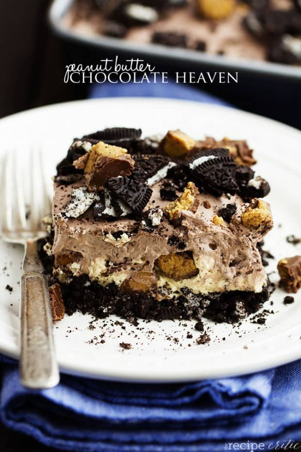 An oreo crust, a creamy peanut butter cheesecake center with peanut butter cups, and a chocolate pudding whipped topping. And nobaking required! Can you see why this is heaven?