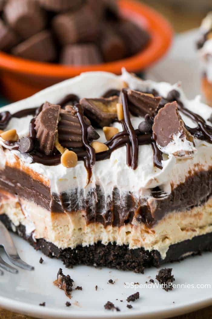 Peanut Butter Lasagna has layers of fluffy peanut butter filling, rich chocolatey pudding and a sweet whipped topping all nestled on a chocolate Oreo cookie crust. This easy no bake dessert can be made ahead of time and is a potluck favorite!