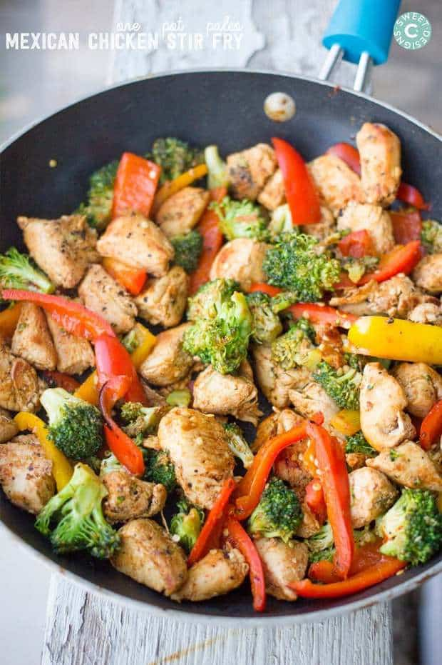 This one pot paleo mexican chicken stir fry is a delicious, quick and incredibly healthy meal that is whole 30, paleo, low carb and take shape for life compliant. It is naturally gluten free, has an ideal balance of fats, protein and carbohydrates- and has a ton of delicious whole foods flavor!