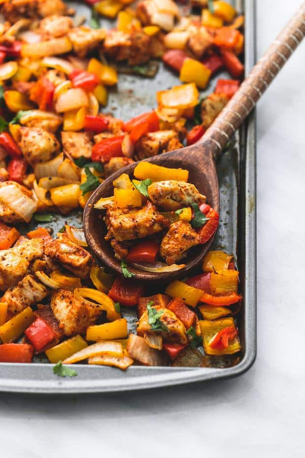 One Pan Fajita Chicken and Veggiesis an awesome meal in one with zesty lime and spicy seasonings. Ready in under 30 minutes this meal will be one of the best you have tried!