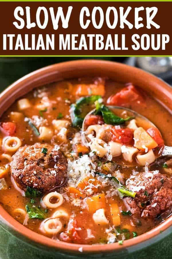 This hearty and rich Italian meatball soup is made easily in the slow cooker. With only 4 WW smart points, it's a delicious dinner or lunch idea!