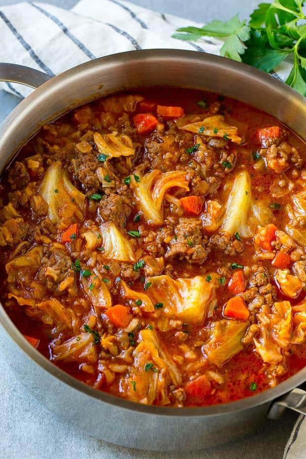 This cabbage roll souphas all the same flavors as classic baked cabbage rolls, but with way less work! This unstuffed cabbage soup is hearty, filling and the perfect choice for an easy dinner option.