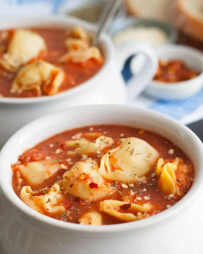 3 Ingredient Tomato Tortellini Soup– if you're short on time, make this soup! It only takes 15 minutes from start to finish and is full of flavor. Plus,3 variationsare included with easy additions for more soup deliciousness!