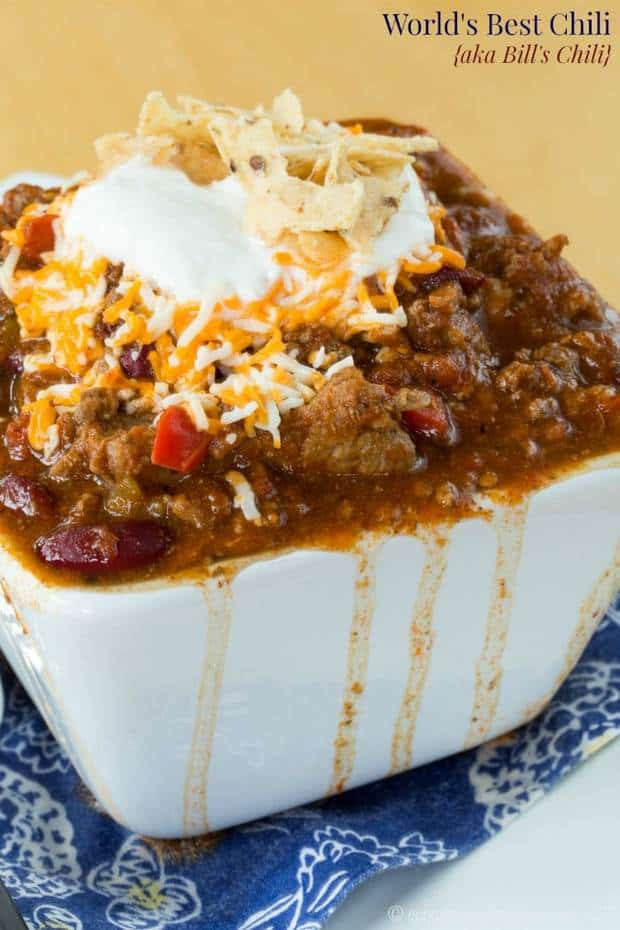 "The World's Best Chili can be found right here. Loaded with beef, bacon, and plenty of ""secret spices"", enjoy a bowl of comfort food because your new family favorite chili recipe will be Bill's Chili (aka the World's Best Chili)."
